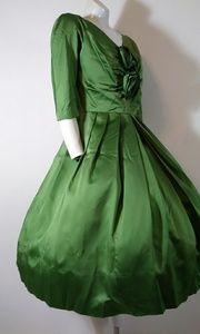 Vintage Dresses - 50s vintage GIGI young satin hostess dress